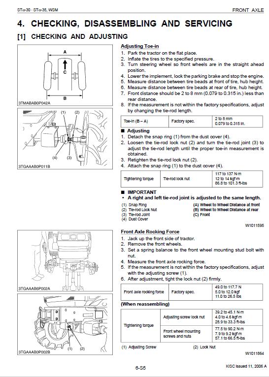 Kubota Sta-30, Sta-35 Tractor Workshop Service Manual