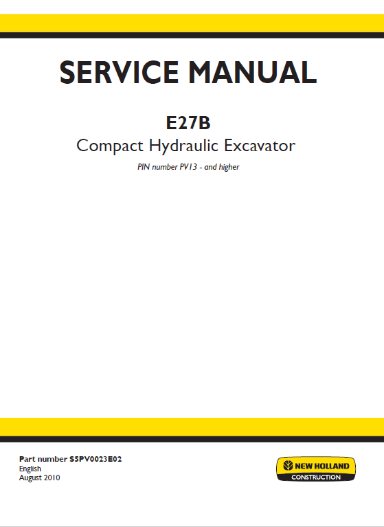 New Holland E27b Compact Excavator Service Manual