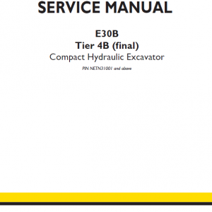 New Holland E30b Tier 4b Compact Excavator Service Manual