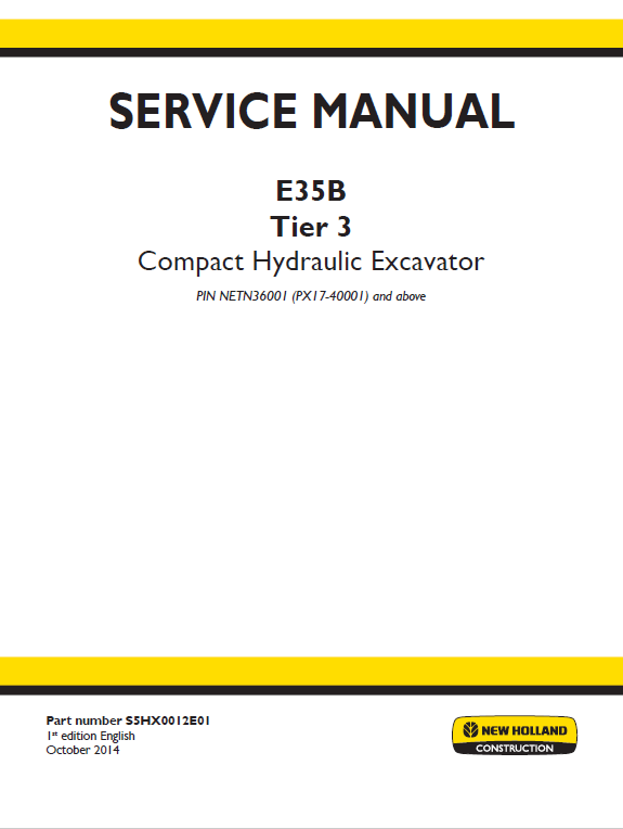 New Holland E35b Tier 3 Compact Excavator Service Manual