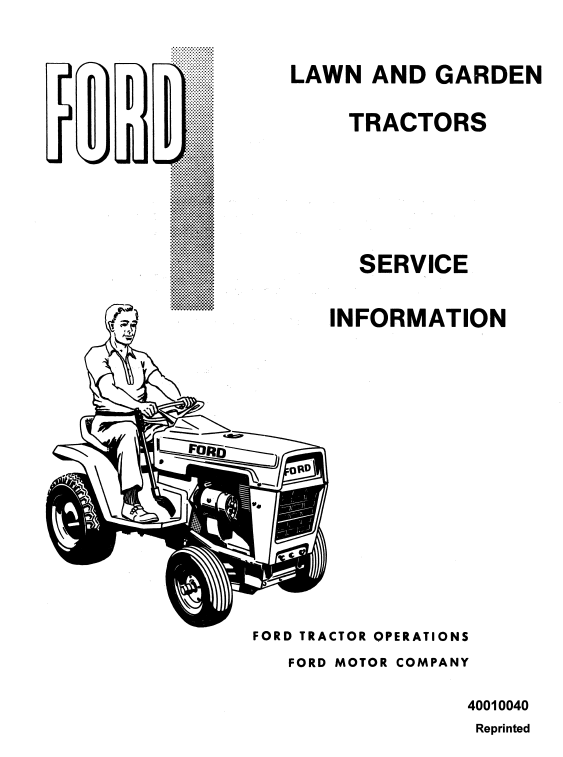 Ford 100, 120, 125, 145, 165, 195 Lawn Tractor Service Manual