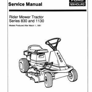Ford 830, 1130 Rider Mower Tractor Service Manual