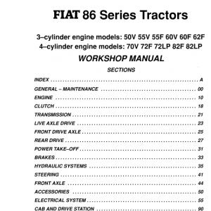 Fiat 70v, 72f, 72lp, 82f, 82lp Tractor Service Manual