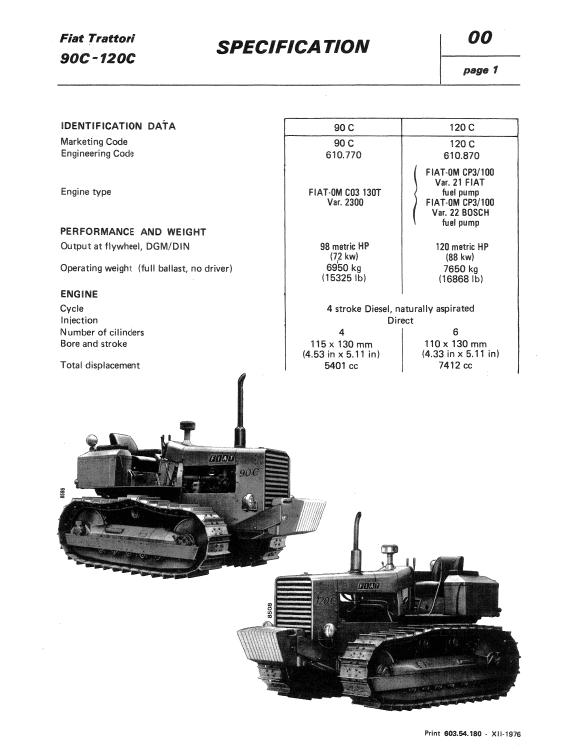 Fiat 90c, 120c Tractor Workshop Service Manual