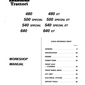 Fiat 480, 500s, 540s, 640 Tractor Workshop Service Manual