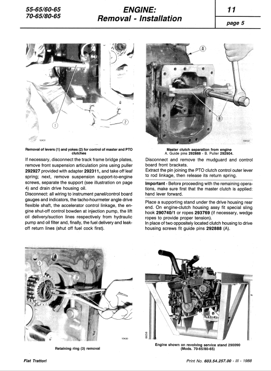 Fiat 80-66 Tractor Service Manual