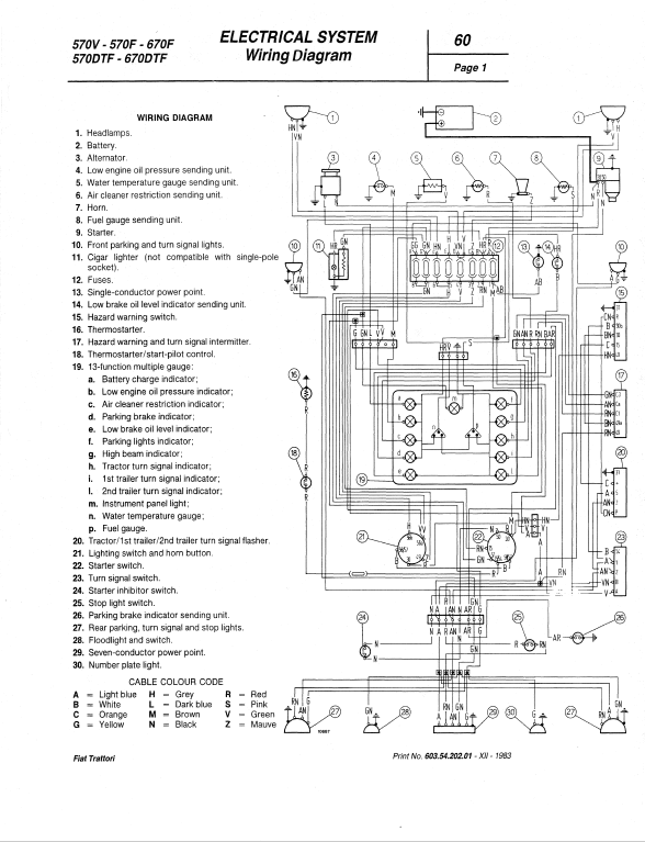 Fiat 580, 580DT, 680, 680DT Tractor Service Manual | Long 680 Wiring Diagram |  | The Repair Manual