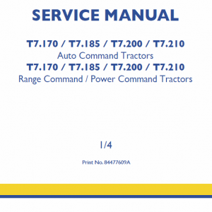New Holland T7.170, T7.185, T7.200 Tractor Service Manual