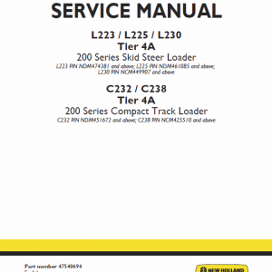 New Holland L230, C238 Tier 4a Skidsteer Loader Service Manual