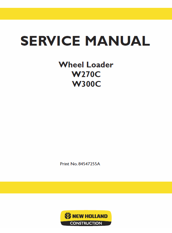 New Holland W270c, W300c Wheel Loader Service Manual