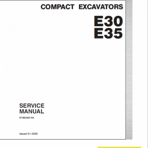 New Holland E30, E35 Compact Excavator Service Manual