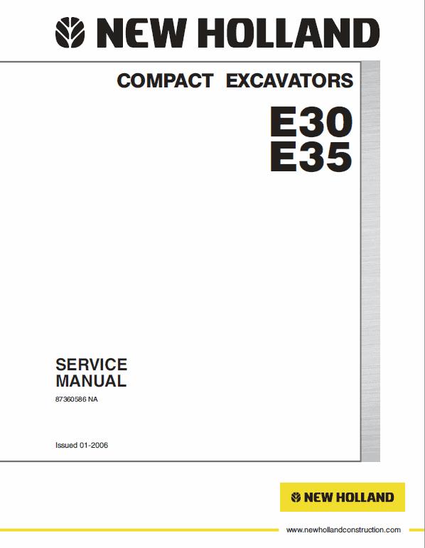 New Holland E30, E35 Compact Excavator Service Manual