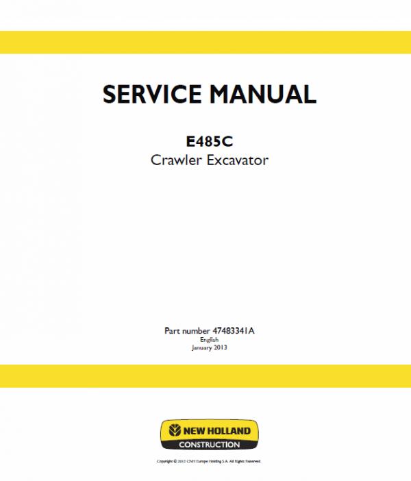 New Holland E485c Crawler Excavator Service Manual