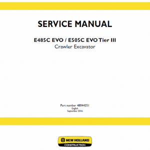 New Holland E485c Evo, E505c Eco Tier 3 Excavator Service Manual