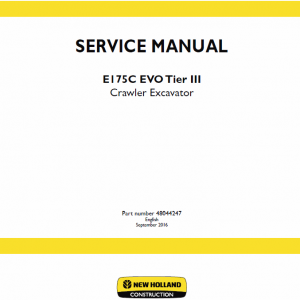 New Holland E175c Evo Excavator Service Manual