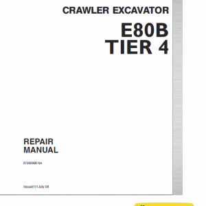 New Holland E80b Tier 4 Excavator Service Manual