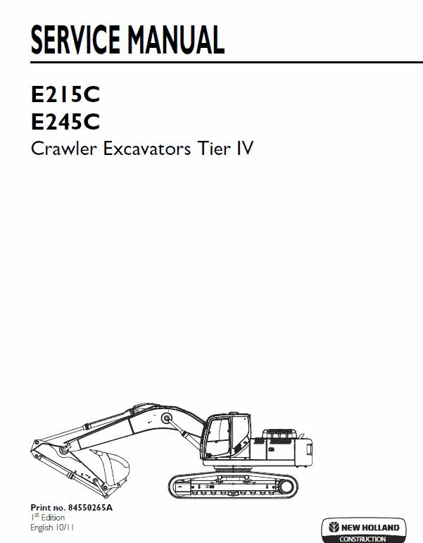 New Holland E215c, E245c Tier 4 Excavator Service Manual