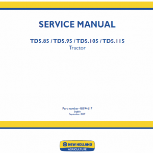 New Holland Td5.85, Td5.95, Td5.105, Td5.115 Tractor Service Manual
