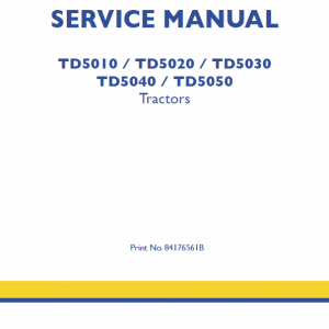 New Holland Td5010, Td5020 Tractor Service Manual