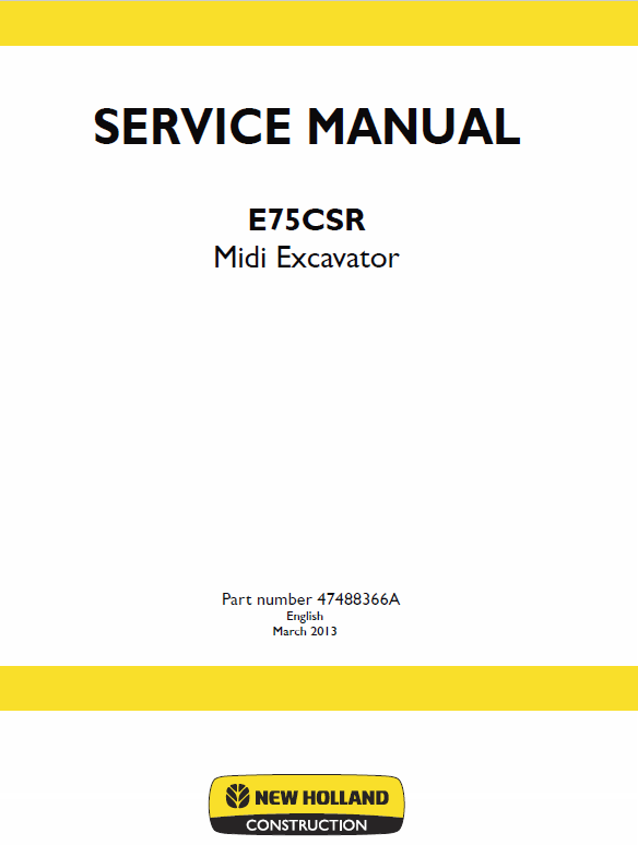 New Holland E75csr Midi Excavator Service Manual