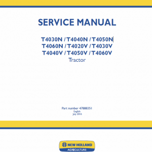 New Holland T4020v, T4030v, T4040v, T4050v, T4060v Tractor Service Manual