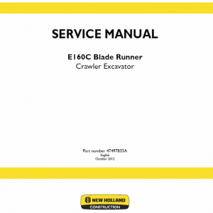 New Holland E160c Crawler Excavator Service Manual
