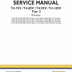 New Holland T4.75v, T4.85v, T4.95v, T4.105v Tier 3 Tractor Manual