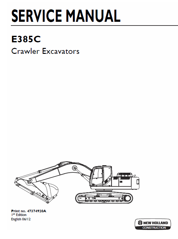 New Holland E385c Crawler Excavator Service Manual