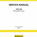 New Holland We210b Wheeled Excavator Service Manual