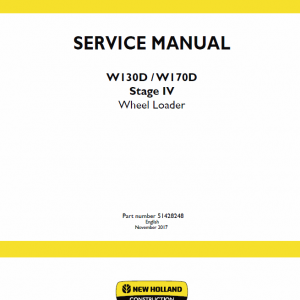 New Holland W130d, W170d Tier 4b Wheel Loader Service Manual