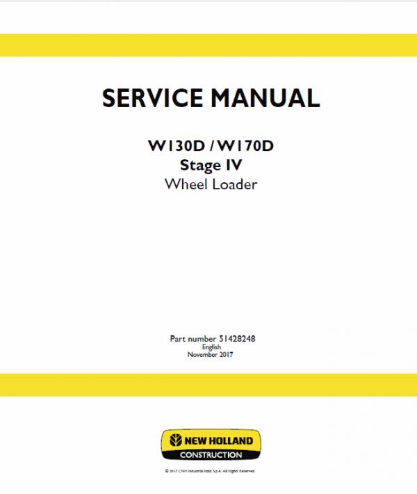 New Holland W130d, W170d Tier 4b Wheel Loader Service Manual