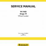 New Holland W190d Tier 4b Wheel Loader Service Manual