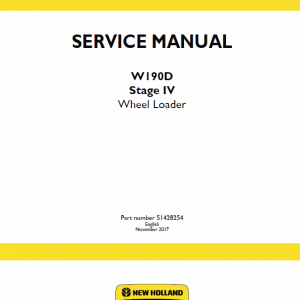 New Holland W190d Tier 4b Wheel Loader Service Manual