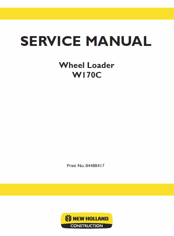 New Holland W170c Wheel Loader Service Manual