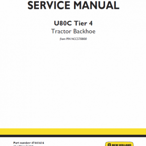 New Holland U80c Tractor Backhoe Service Manual