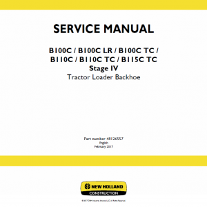 New Holland B100c, B100c Lr, B100c Tc Backhoe Loader Service Manual