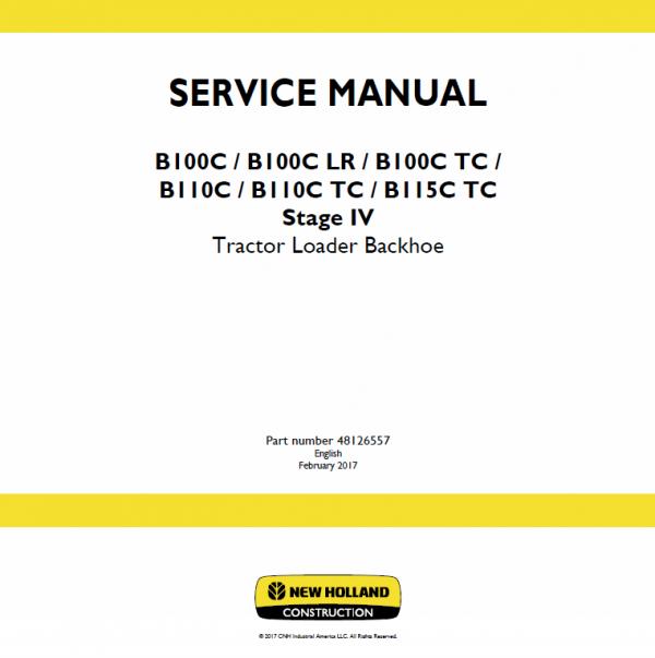 New Holland B100c, B100c Lr, B100c Tc Backhoe Loader Service Manual