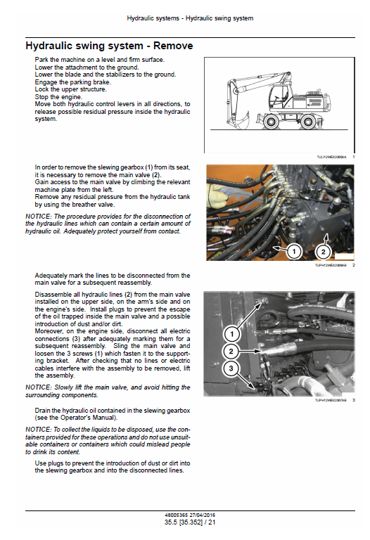 New Holland We170b, We190b Wheeled Excavator Service Manual