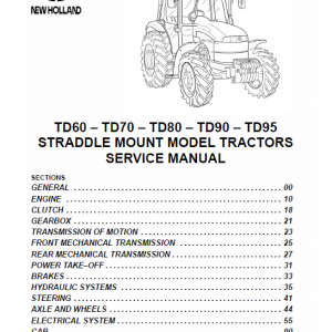 New Holland Straddle Td60, Td70, Td80, Td90, Td95 Tractor Service Manual
