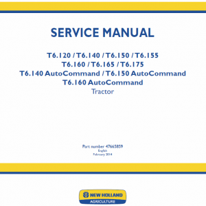 New Holland T6.160, T6.165, T6.175, T6.180 Tractor Service Manual