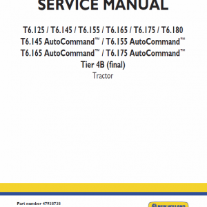 New Holland T6.125, T6.140, T6.145, T6.150, T6.155 Tractor Service Manual