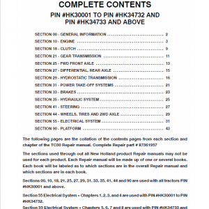 New Holland Tc30 Tractor Service Manual