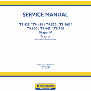New Holland T9.435, T9.480, T9.530, T9.565 Tractor Service Manual