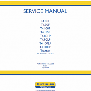 New Holland T4.80f, T4.90f, T4.100f, T4.110f Tractor Service Manual