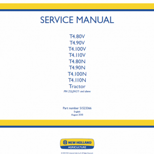 New Holland T4.80n, T4.90n, T4.100n, T4.110n Tractor Service Manual
