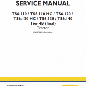 New Holland Ts6.110 Hc, Ts6.120 Hc Tractor Service Manual