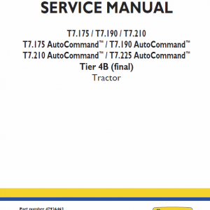 New Holland T7.175, T7.190, T7.210, T7.225 Tractor Service Manual