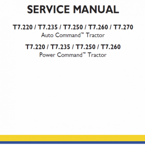 New Holland T7.220, T7.235, T7.250 Tractor Service Manual