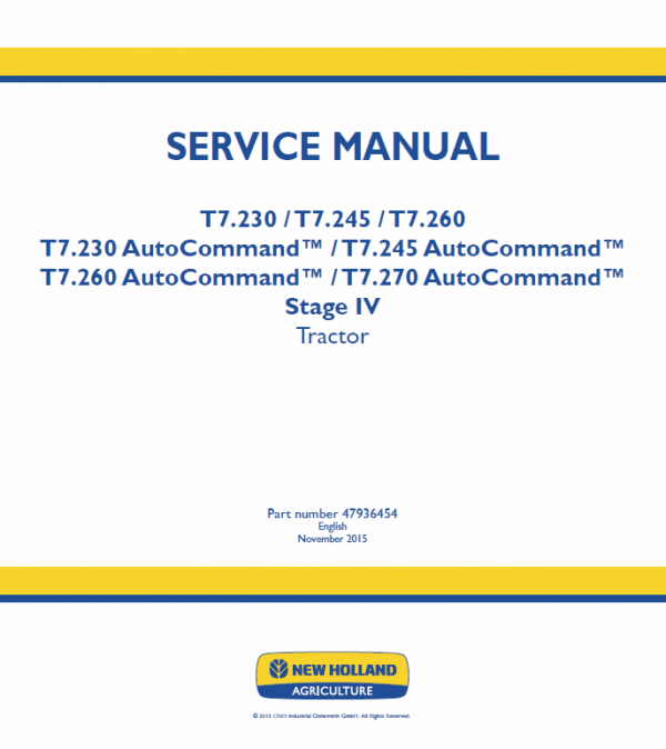 New Holland T7.230, T7.240, T7.245, T7.260, T7.270 Tractor Service Manual