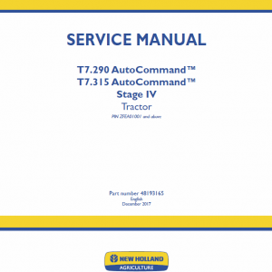 New Holland T7.290, T7.315 Tractor Service Manual